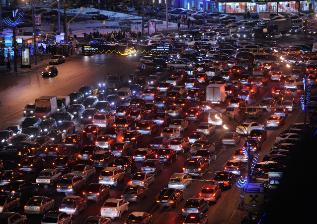 Traffic jam on the Moscow Garden Ring road.