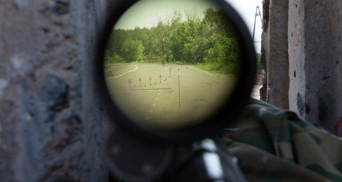View through a sniper's rifle