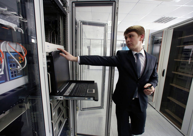 A technical support engineer working at the new air traffic control center in Kaliningrad's Khrabrovo Airport