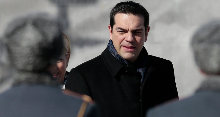 Greek Prime Minister Alexis Tsipras takes part in a wreath-laying ceremony at the Tomb of the Unknown Soldier by the Kremlin Wall in Moscow