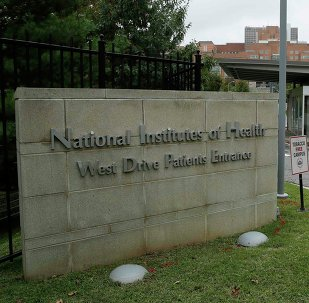 he patient's entrance at the National Institutes of Health is shown in Bethesda, Maryland