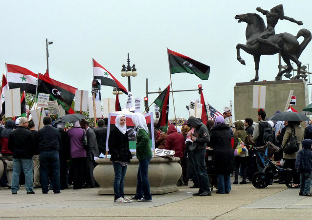 Syrian and Libyan pro-democracy demonstrators