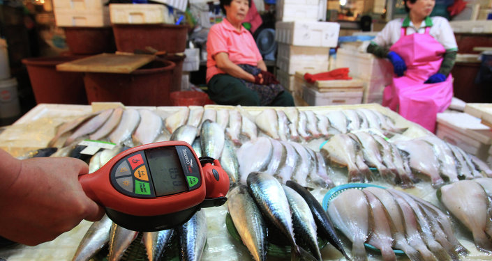 A worker using a Geiger counter checks for possible radioactive contamination at Noryangjin Fisheries Wholesale Market in Seoul, South Korea, Friday, Sept. 6, 2013