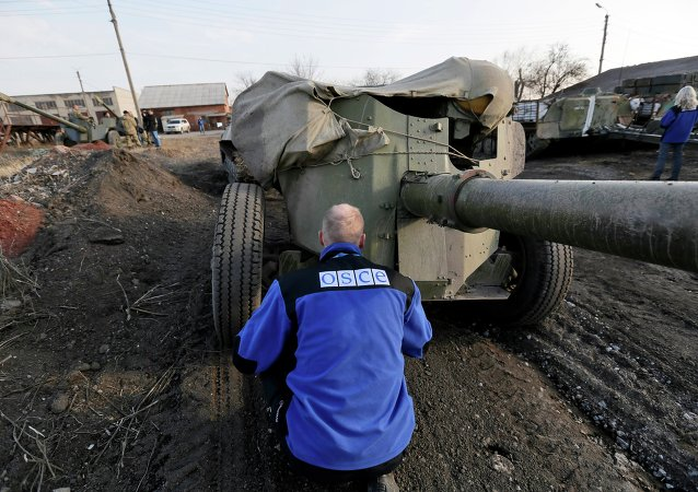 An OSCE monitor inspects a Ukrainian canon in the town of Druzhkivka, east Ukraine