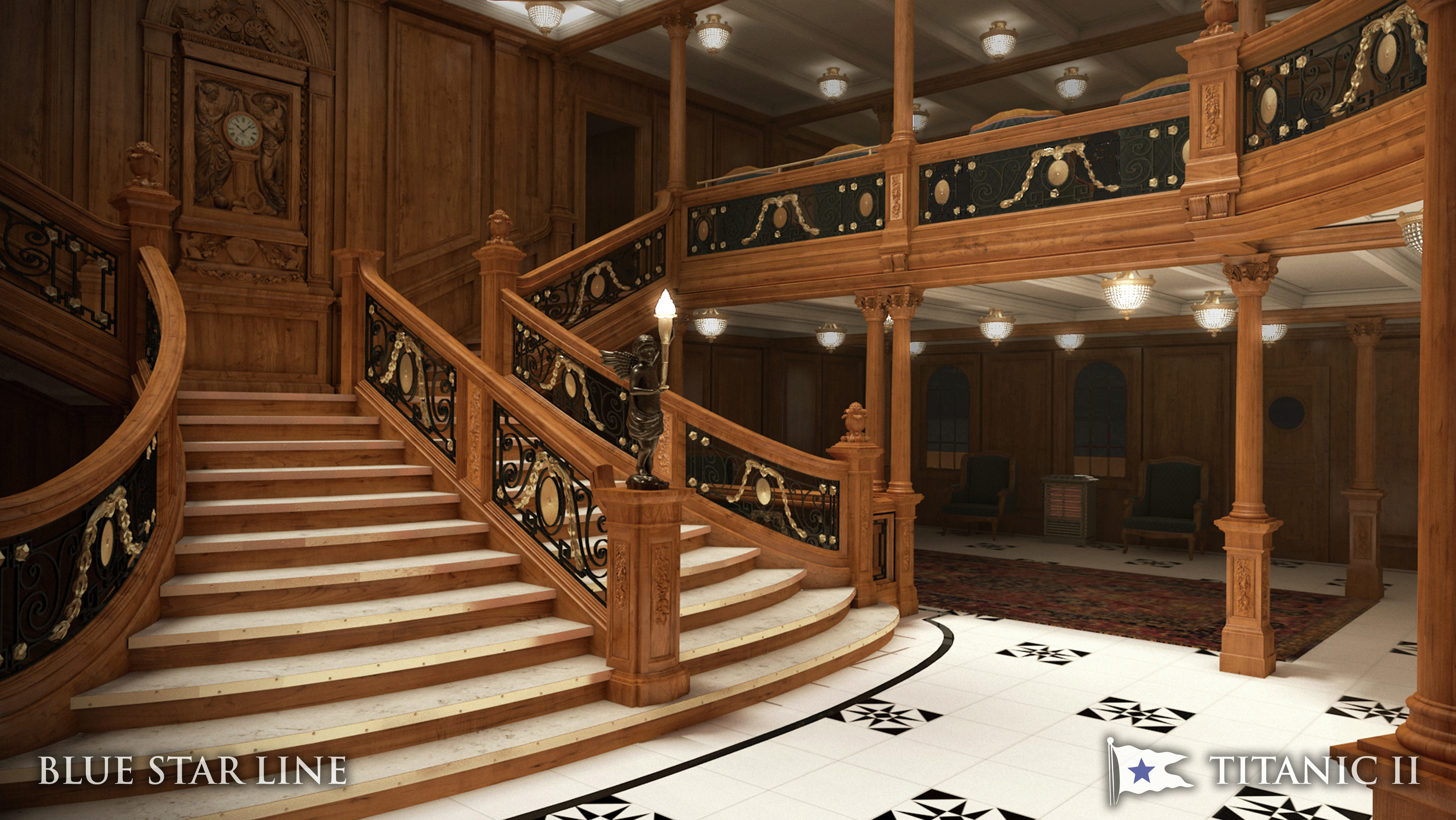 In this rendering provided by Blue Star Line, the grand staircase on the Titanic II is shown. The replica ship, which Australian billionaire Clive Palmer is planning to build in China, is scheduled to sail in 2016