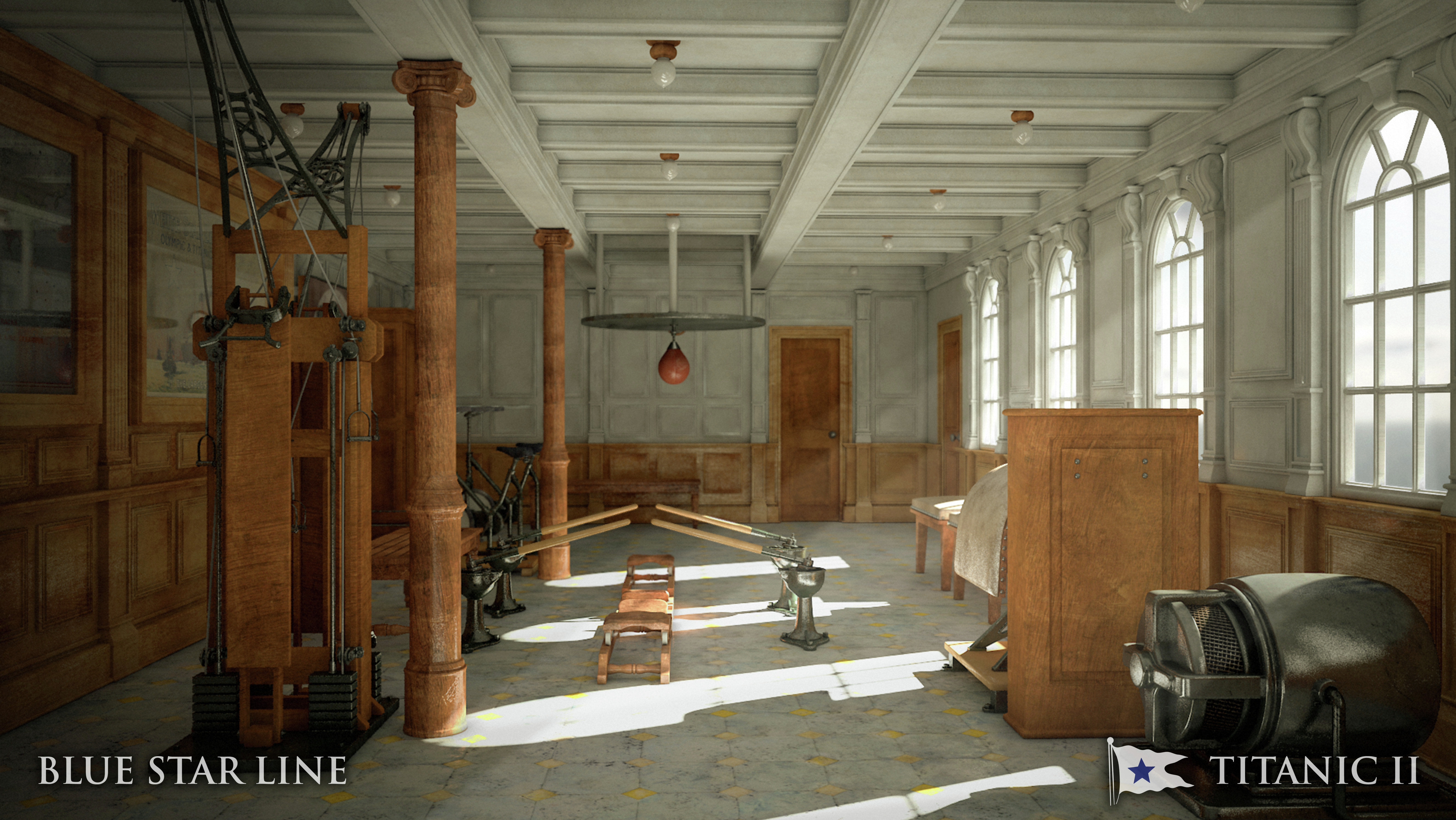 In this rendering provided by Blue Star Line, the gymnasium on the Titanic II is shown. The ship, which Australian billionaire Clive Palmer is planning to build in China, is scheduled to sail in 2016