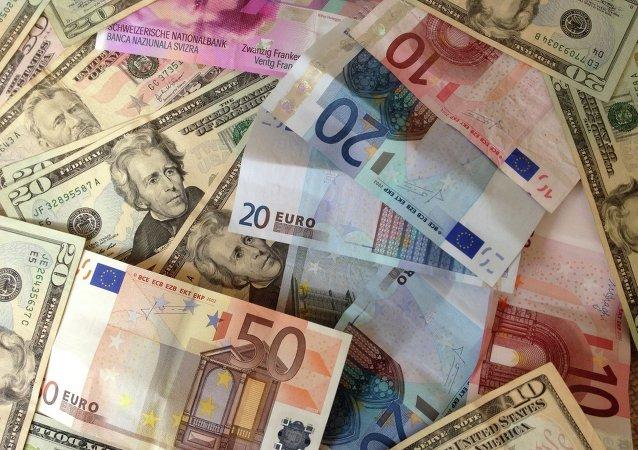 US dollars and Euros - cash banknotes