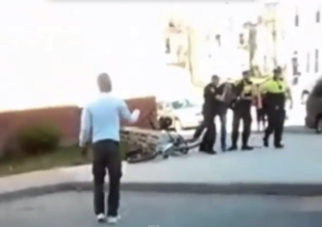 Screenshot from a cell phone video showing the arrest of Freddie Gray in Baltimore
