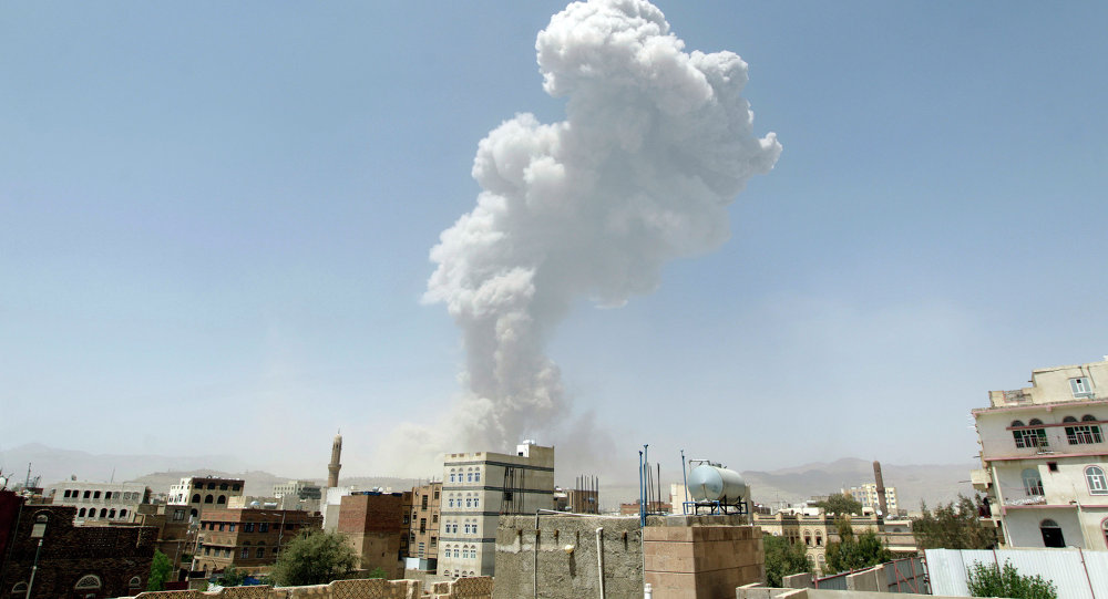 Smoke billows from the Faj Attan Hill following a reported airstrike by the Saudi-led coalition on an army arms depot, now under Huthi rebel control, on April 20, 2015, in Sanaa