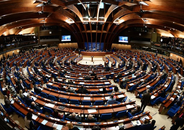 Delegates at a plenary meeting of the Parliamentary Assembly of the Council of Europe (PACE)