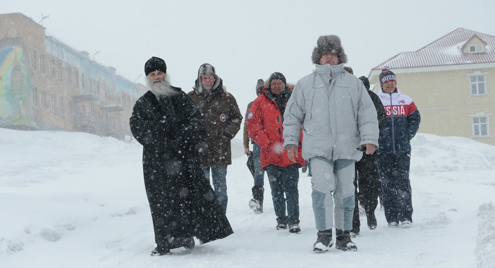 Mining town of Barentsburg on Spitsbergen (Svalbard)