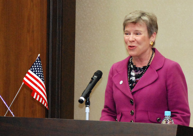 US Under Secretary of State for Arms Control and International Security Rose Gottemoeller delivers a speech at the University of Hiroshima in Higashihiroshima city, western Japan on April 12, 2014