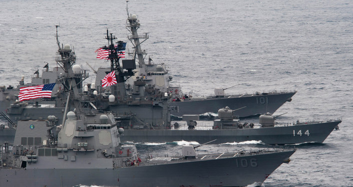 US-Japanese ships sail in formation.
