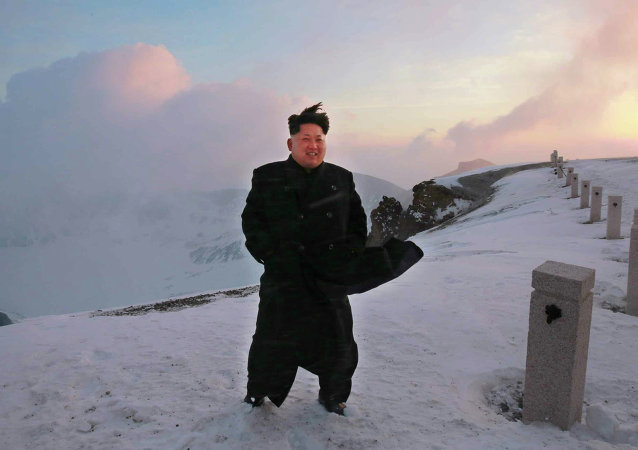 North Korean leader Kim Jong-Un on a snow-covered top of Mount Paektu in North Korea