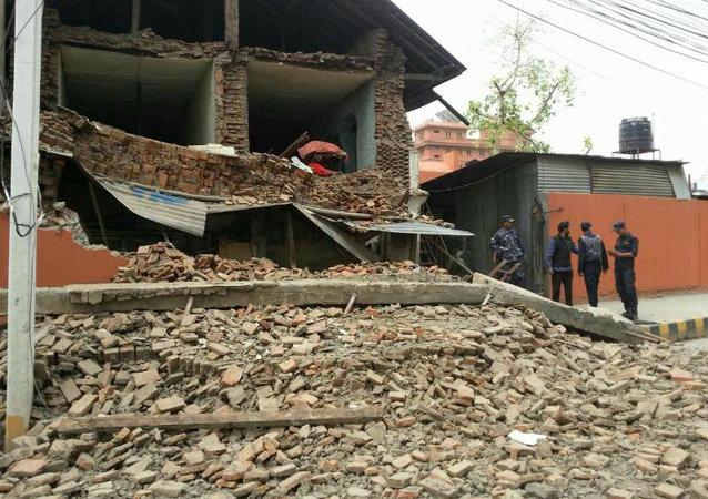 Collapsed building is seen in Nepal's capital Kathmandu