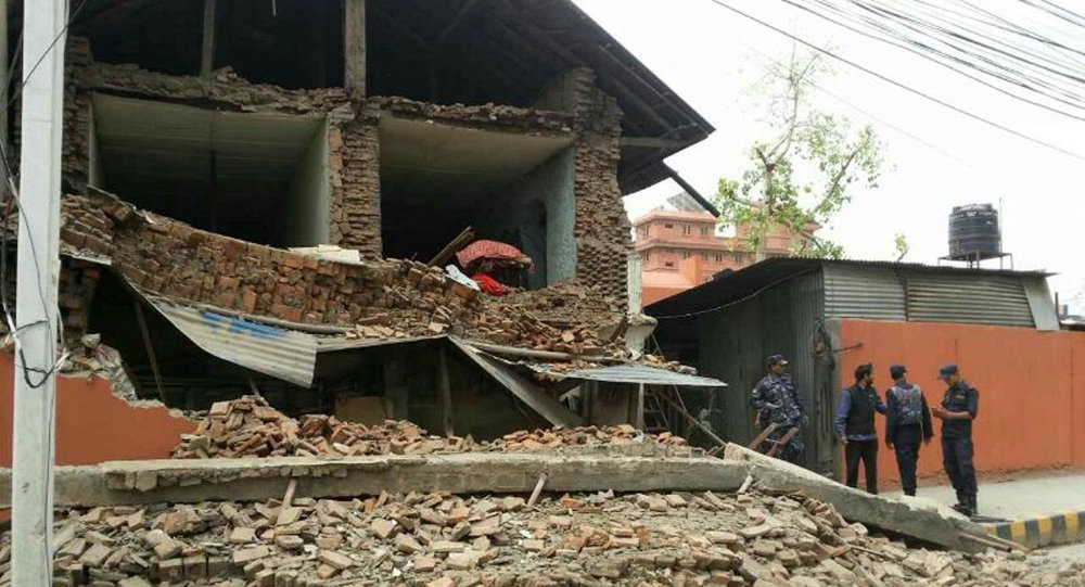 Collapsed building is seen in Nepal's capital Kathmandu