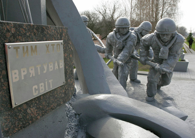 To those who saved the world. A monument to firemen who extinguished the Chernobyl nuclear plant Unit 4 conflagration immediately after the disaster