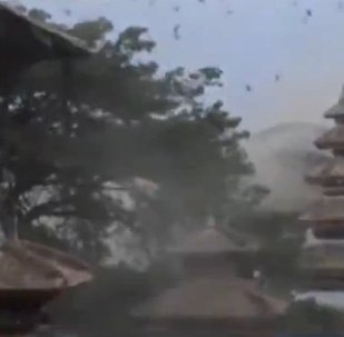 Birds Fill Sky as Buildings Collapse in Kathmandu's Durbar Square