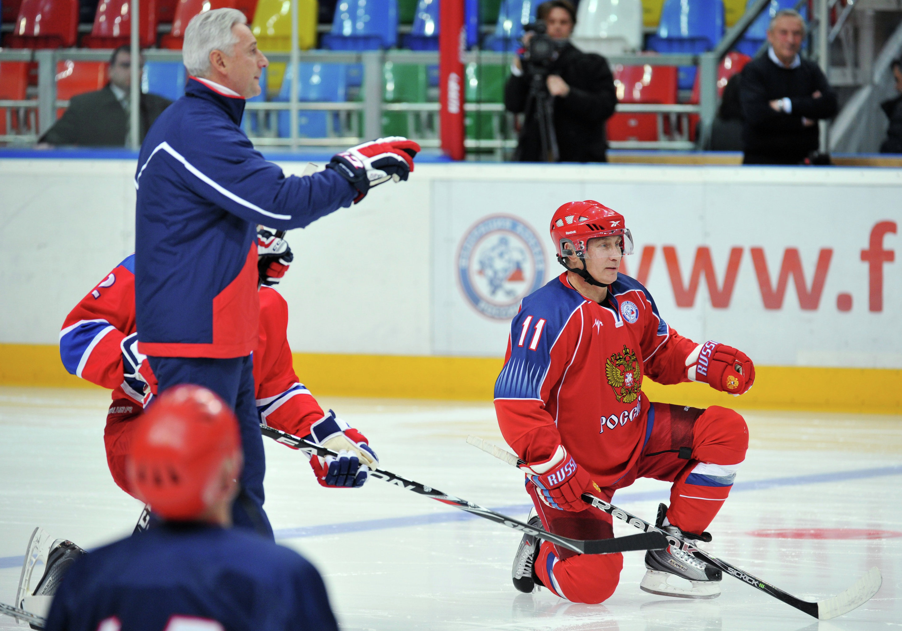 Vladimir Putin plays hockey with the Legends of USSR Hockey club on November 18, 2011.
