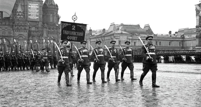 Victory Day Parade on Red Square, June 24, 1945. Marshal Rodion Malinovsky at the head of the column, before the Banner of the 2nd Ukrainian Front.