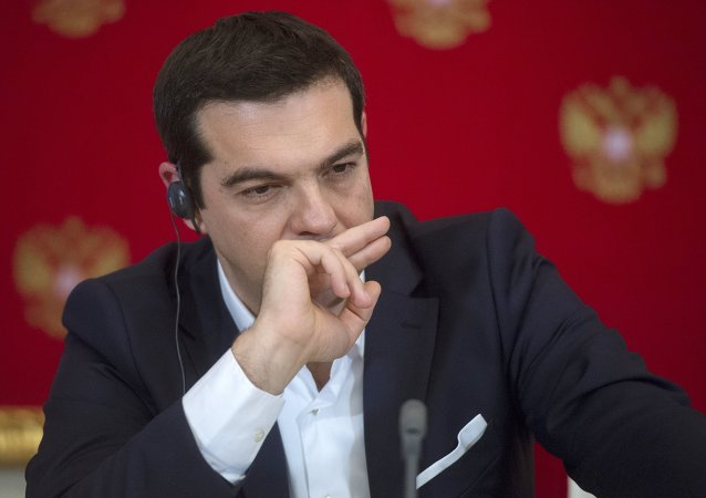 Greek Prime Minister Alexis Tsipras at the joint news conference with Russian President Vladimir Putin following their talks at the Moscow Kremlin, April 8, 2015.