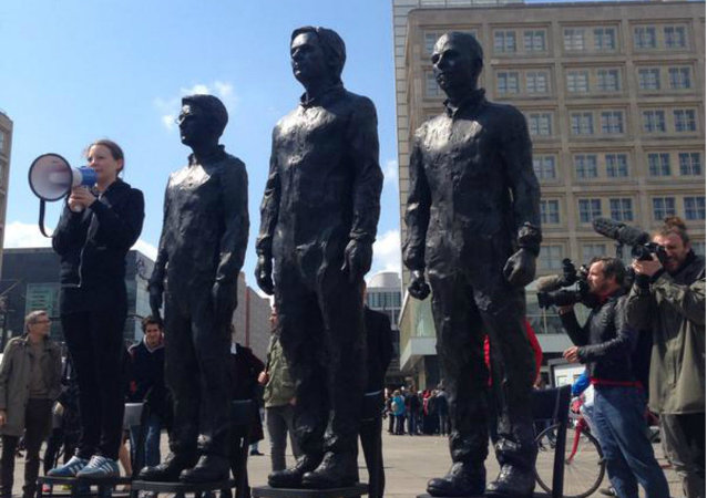 A statue depicting whistleblowers Edward Snowden, Julian Assange and Chelsea Manning was unveiled in Berlin on Friday, as a celebration of freedom of expression and the courage to expose truths.