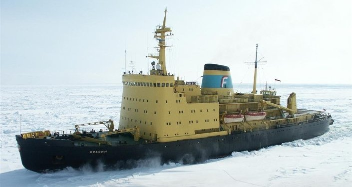 Krasin, an A1-class, triple-screw, four-deck icebreaker owned by the Far East Shipping Company (FESCO)