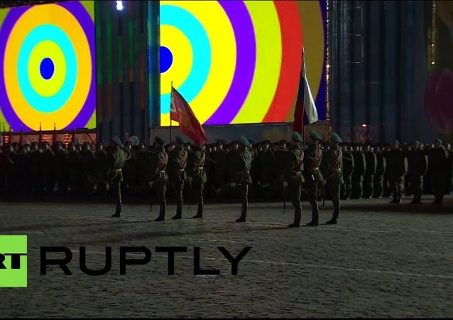 Nighttime rehersals of May 9 parade at Red Square