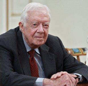 Former US President Jimmy Carter at Russian President Vladimir Putin's meeting with members of The Elders