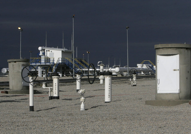 A general view of the monitoring station of a pipeline bringing Azerbaijani gas from Turkey to Greece at the Ipsala border crossing
