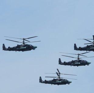 Kamov Ka-52 Hokum-B helicopters at the military parade
