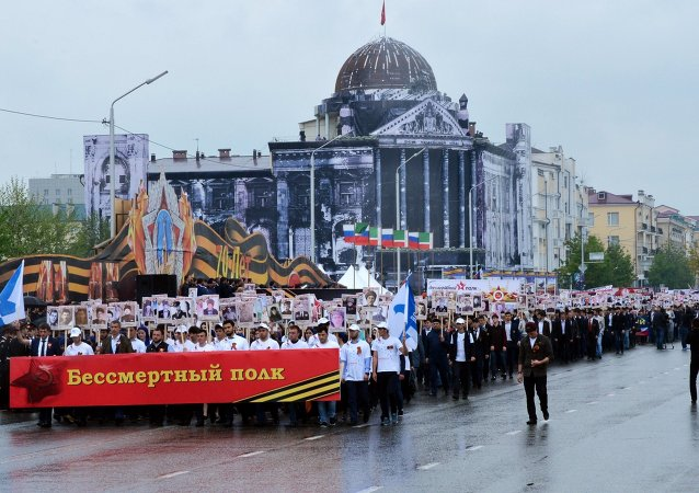 Participants in the Immortal Regiment Campaign during the celebration of the 70th anniversary of Victory in the 1941-1945 Great Patriotic War