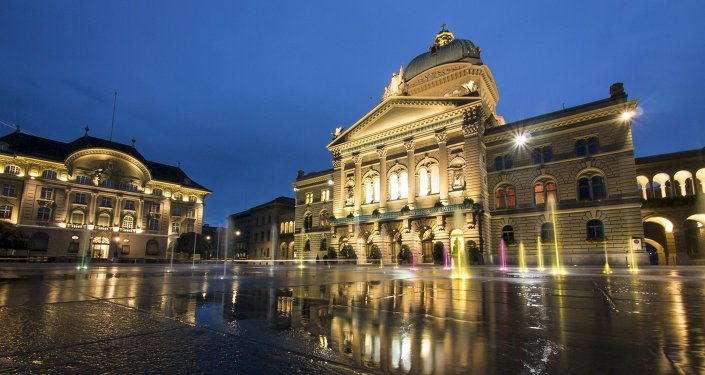 The Bundesplatz in front of the federal palace (and the national bank to the left) in Bern, Switzerland.
