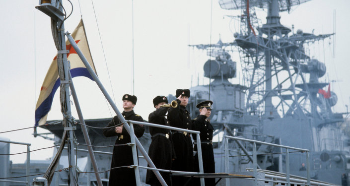 A ship of the Russian Navy Black Sea Fleet. Raising of the Russian Navy flag