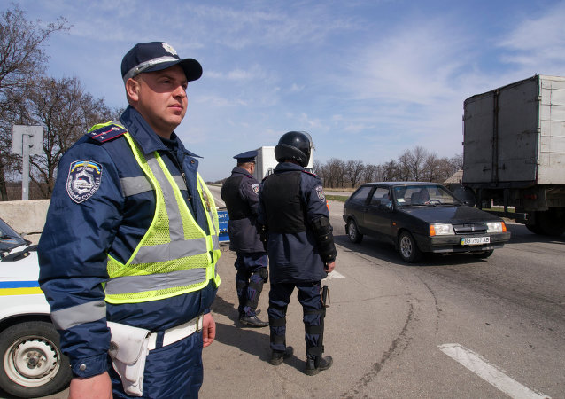 Ukrainian traffic policemen