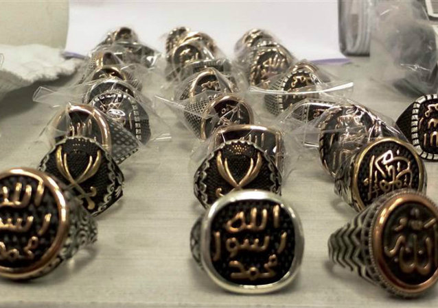 A shipment of 120 rings designed as merchandise promoting the self-styled Islamic State terror group were seized at Ben Gurion airport in Israel, and confiscated as propaganda, tax officials said Tuesday.
