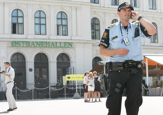 Armed police patrol at the Central railway station in Oslo