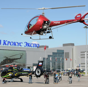 Helicopters arrive for HeliRussia 2015 expo