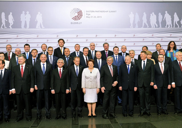 Leaders pose for a family picture on the second day of the fourth European Union (EU) eastern Partnership Summit in Riga, on May 22, 2015 as Latvia holds the rotating presidency of the EU Council