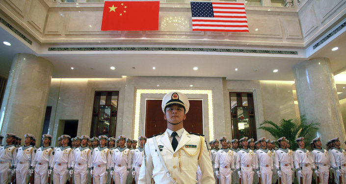 A military honor guard prepares for U.S. Chief of Naval Operations Adm. Jonathan Greenert's visit with Commander in Chief of the China's navy Adm. Wu Shengli