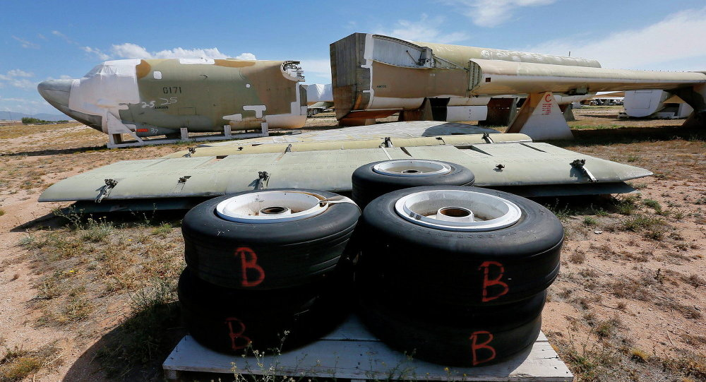 A Boeing B-52 Stratofortress, tail number 58-0171, nicknamed Lil Peach II is seen chopped up per the New START Treaty (Strategic Arms Reduction Treaty) with Russia, at the 309th Aerospace Maintenance and Regeneration Group boneyard at Davis-Monthan Air Force Base in Tucson, Ariz