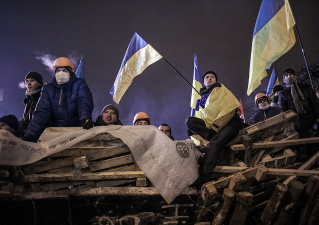 Supporters of Ukraine's integration with the EU on Maidan Square in Kiev.