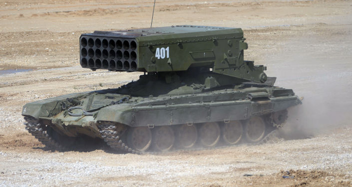 """TOS-1 Solntsepek multiple rocket launcher during equipment demonstration at the International Military-Technical Forum """"ARMY-2015"""" in Moscow region"""