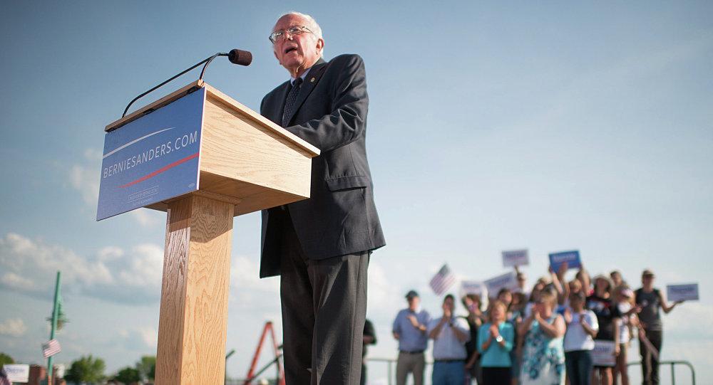 Sen. Bernie Sanders, I-Vt., speaks on Tuesday, May 26, 2015 in Burlington, Vt., where he formally announced he will seek the Democratic nomination for president
