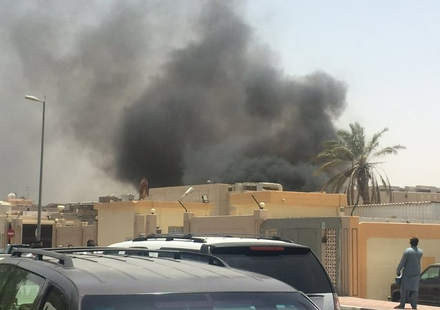 Smoke rises after a car exploded near a Shi'ite mosque in Saudi Arabia's Dammam May 29, 2015