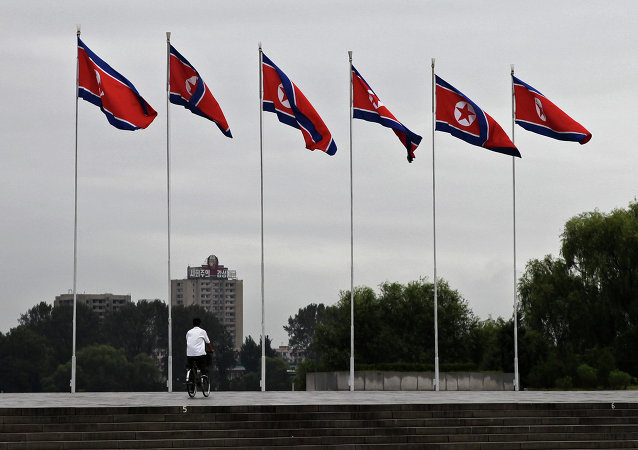 Democratic People's Republic of Korea flags fly in the North Korean capital city of Pyongyang.