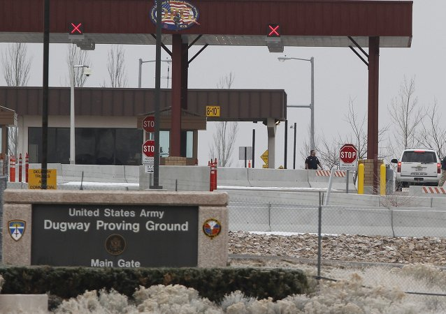 This Jan. 27, 2010, file photo, shows the main gate at Dugway Proving Ground military base, about 85 miles southwest Salt Lake City, Utah.