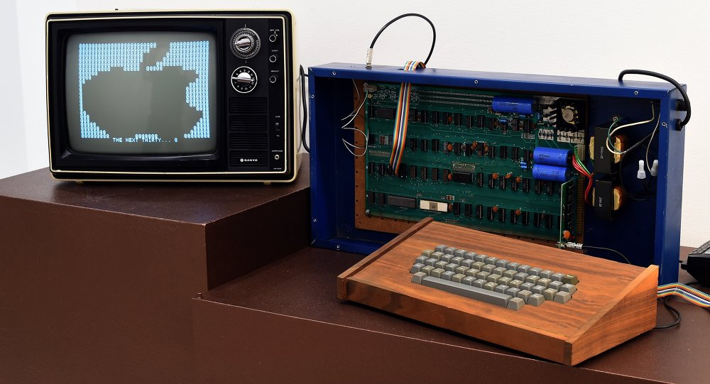 A press preview at Christie's on December 5, 2014 displays 'The Ricketts' Apple-1 Personal Computer, as part of the auction house's inaugural Exceptional Sale in New York