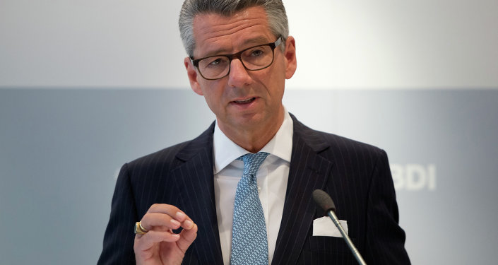 President of the Federation of German Industries (BDI), Ulrich Grillo delivers a speech at this year's first BDI press conference