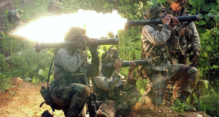 US soldiers use AT-4 anti-tank rocket launchers during a military exercise